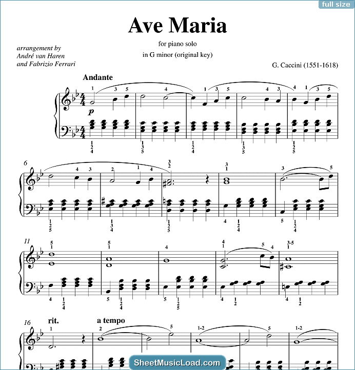 Ave Maria Sheet Music for Piano Solo by Giulio Caccini. MaryKeywords: Classical, Wedding, Traditional, Festival, Love,...