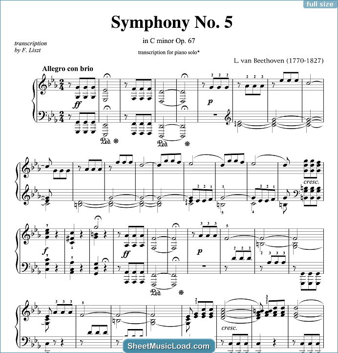 Symphony No.5 in C minor Op.67 Sheet Music for Piano Solo by Ludwig van Beethoven. Op. 67, Opus 67, C Moll, Do Minore, Fifth...