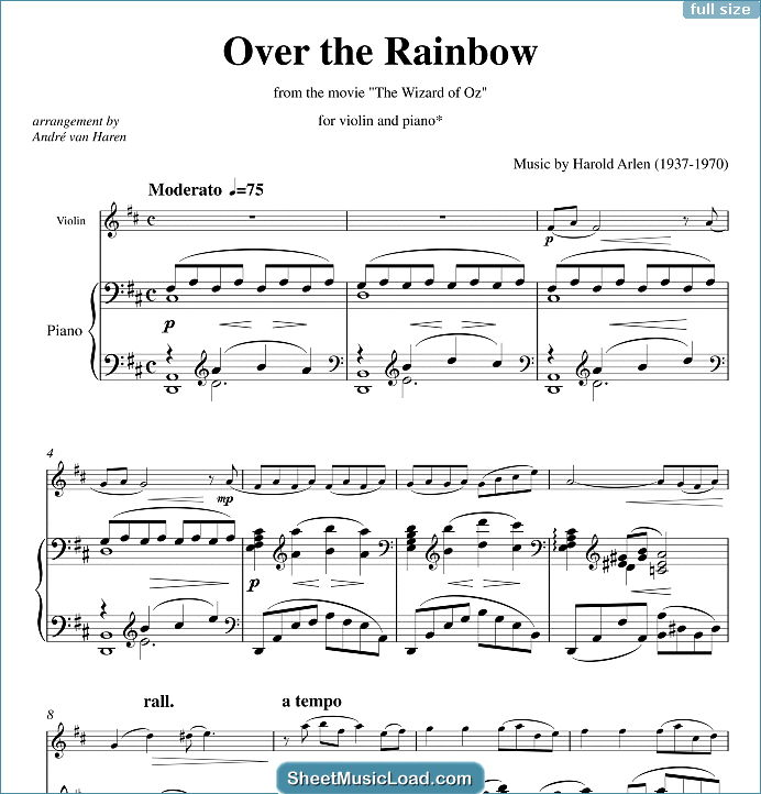 Over the Rainbow Sheet Music for Violin & Piano by Harold Arlen. The Wizard Of Oz, Somewhere Over The RainbowKeywords:...