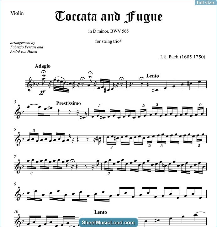 Toccata and Fugue in D minor BWV 565 (parts) Sheet Music for String Trio by Johann Sebastian Bach. Toccata And Fugue In D...