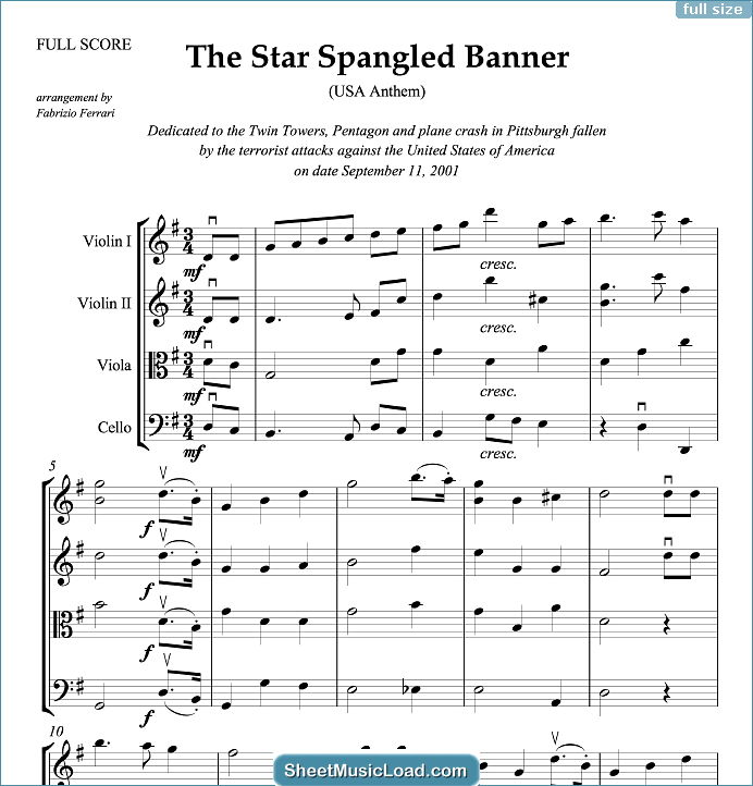 The Star Spangled Banner (in G, ALL) - USA Anthem Sheet Music for String Quartet Or String Orchestra by John Stafford Smith....