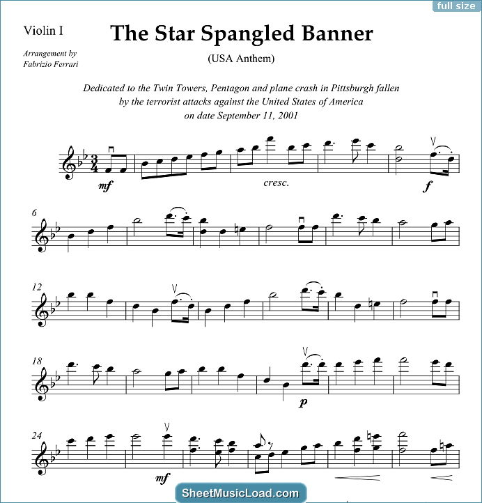 The Star Spangled Banner (in Bb) - USA Anthem Sheet Music for String Quartet Or String Orchestra by John Stafford Smith....