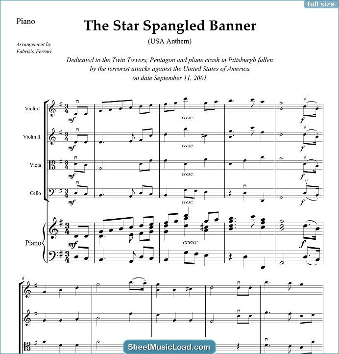 The Star Spangled Banner - USA Anthem Sheet Music for String Quartet & Piano by John Stafford Smith. USA Anthem, American...