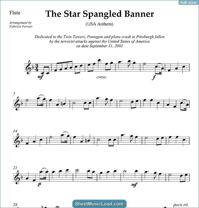 The Star Spangled Banner (in F) - USA Anthem Sheet Music for Wind Quartet by John Stafford Smith. USA Anthem, American Flag,...